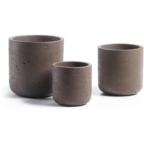 Set Low de 3 maceteros marrón