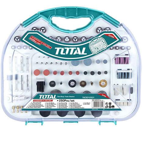 Set Maletín accesorios para mini amoladora 250 accesorios Total Tools TACSD12501