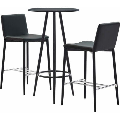 Set mesa alta y taburetes de bar 3 piezas cuero sintetico gris