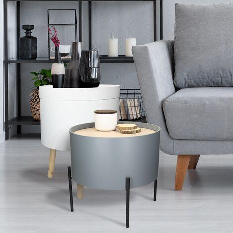 Set mesa de centro auxiliar redonda vintage mesitas salón pasillo tablero MDF