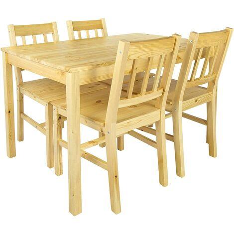 Set: mesa de pino y 4 sillas madera natural PINE