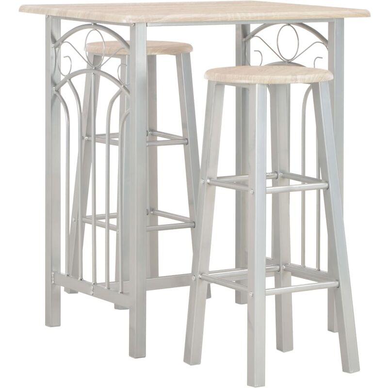 Set mesa y sillas altas de cocina 3 piezas madera y acero