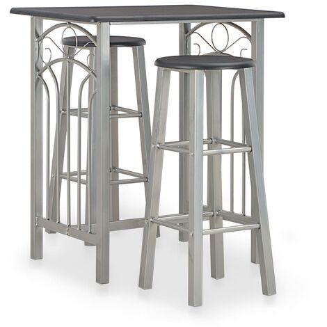 Set mesa y sillas altas de cocina 3 piezas madera y acero negro - Negro