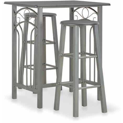 Set mesa y sillas altas de cocina 3 pzas madera acero antracita - Gris