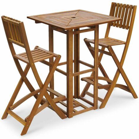 Set mesa y sillas bistró de jardín 3 pzas madera maciza acacia