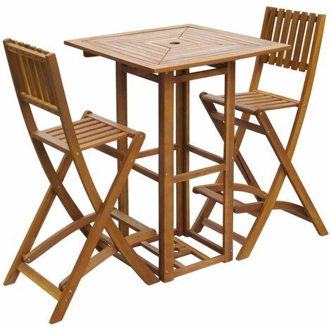 Set mesa y sillas bistro de jardin 3 pzas madera maciza acacia