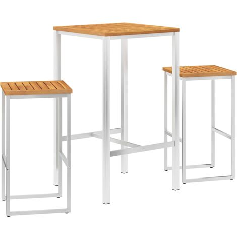 Set mesa y sillas de bar 3 pzas madera acacia acero inoxidable