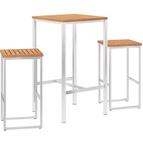 Set mesa y sillas de bar 3 pzas teca maciza y acero inoxidable