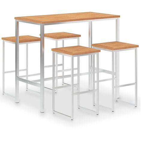 Set mesa y sillas de bar 5 pzas teca maciza y acero inoxidable