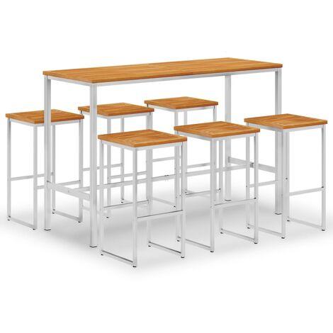 Set mesa y sillas de bar 7 pzas madera acacia acero inoxidable