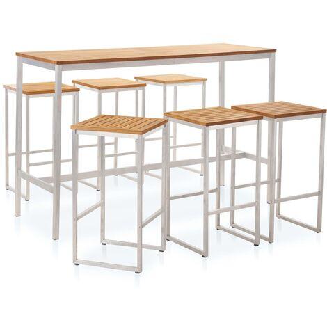 Set mesa y sillas de bar 7 pzas teca maciza y acero inoxidable