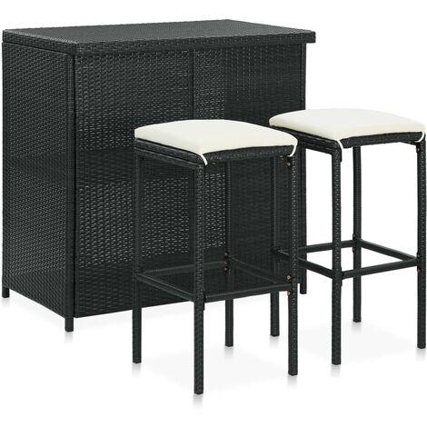 Set mesa y sillas de bar jardín 3 piezas ratán sintético negro - Negro