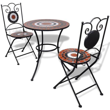 Set mesa y sillas de jardín 3 pzas mosaico terracota y blanco