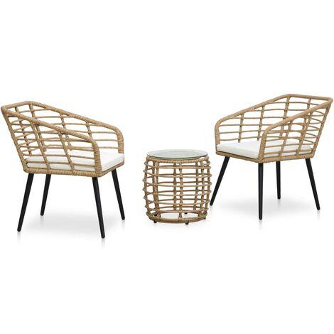 Set mesa y sillas de jardín 3 pzas ratán sintético color roble