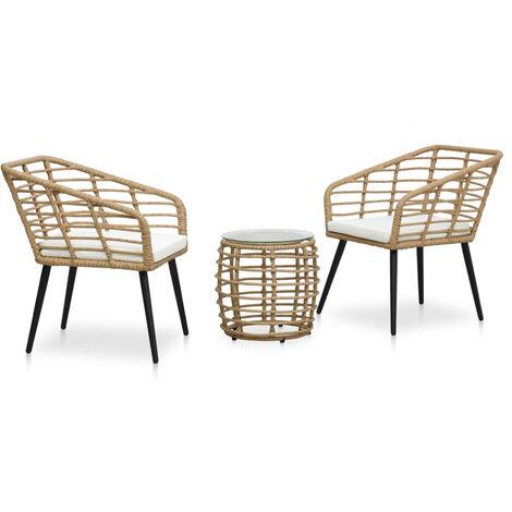 Set mesa y sillas de jardin 3 pzas ratan sintetico color roble