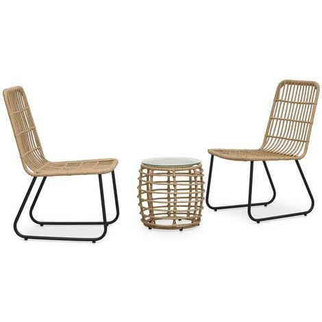 Set mesa y sillas de jardín 3 pzas ratán sintético color roble - Marrón