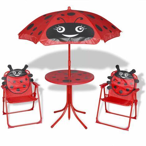 Set mesa y sillas de jardin infantil 3 pzas con sombrilla rojo