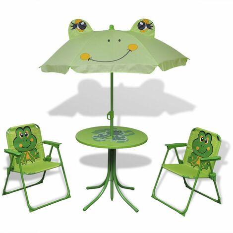 Set mesa y sillas de jardin infantil 3 pzas con sombrilla verde