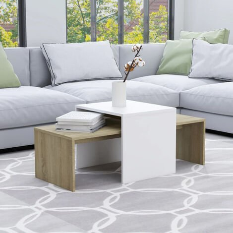 Set mesas de centro aglomerado blanco roble Sonoma 100x48x40 cm