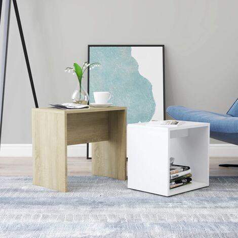 Set mesas de centro aglomerado blanco roble Sonoma 48x30x45 cm