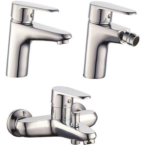 Set Mezcladores lavabo bidé et bañera en latón cromado serie Asia   Cromado