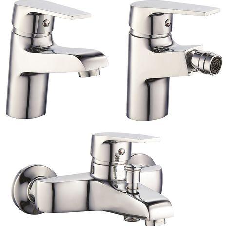 Set Mezcladores lavabo bidé et bañera en latón cromado serie Europa   Cromado