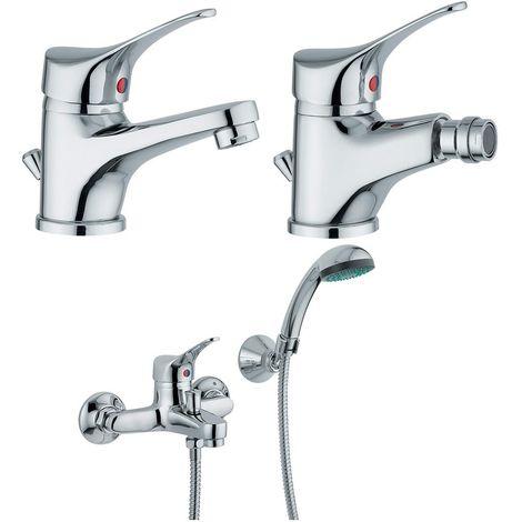 Set Mezcladores lavabo bidé et bañera en latón cromado serie Onda   Cromado