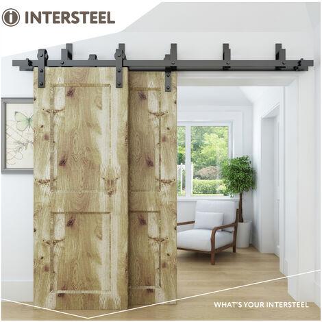 Set mit 5 Wandhaltern für Parallel- / Doppelschiebetüren Schwarz matt aus Stahl
