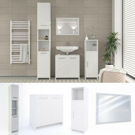 Set mobili bagno moderno 4 pezzi sotto lavabo + specchio 2 colonne ...