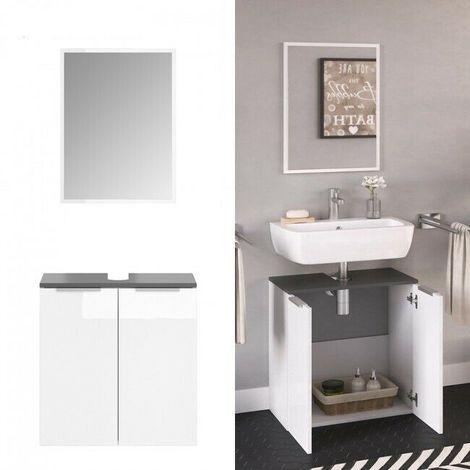 Set mobili bagno sotto lavabo + specchio frontali bianco ...