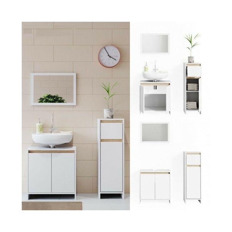 Set mobili bagno sotto lavabo + specchio + mobile colonna bassa bianco e  rovere