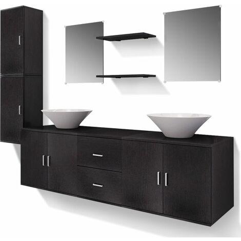 set mobili da bagno e lavandino 9 pz nero