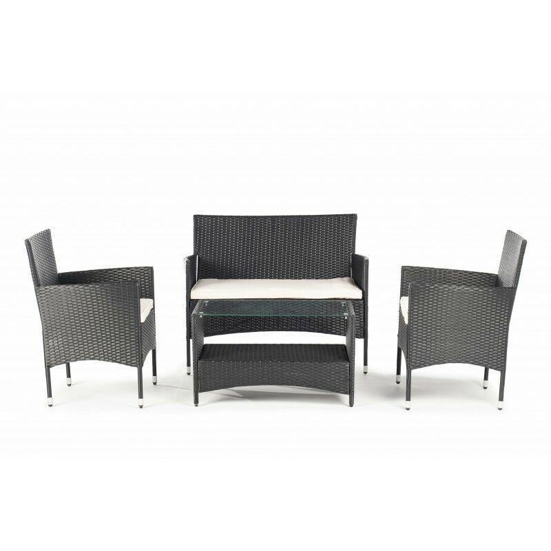 Ensemble de meubles de jardin et terrasse, 4 sièges, marron, rotin synthétique, canapé (105x56x88), fauteuils (60x56x84), table (81x48x25)