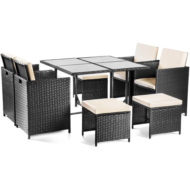 Set mobilier jardin OLBIA 9 pieces Fauteuils rotin noir + table en ...