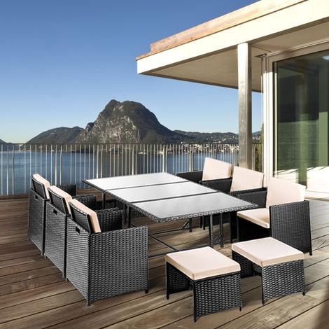 Set mobilier jardin PIANA 11 pcs rotin noir Fauteuils + table en ...