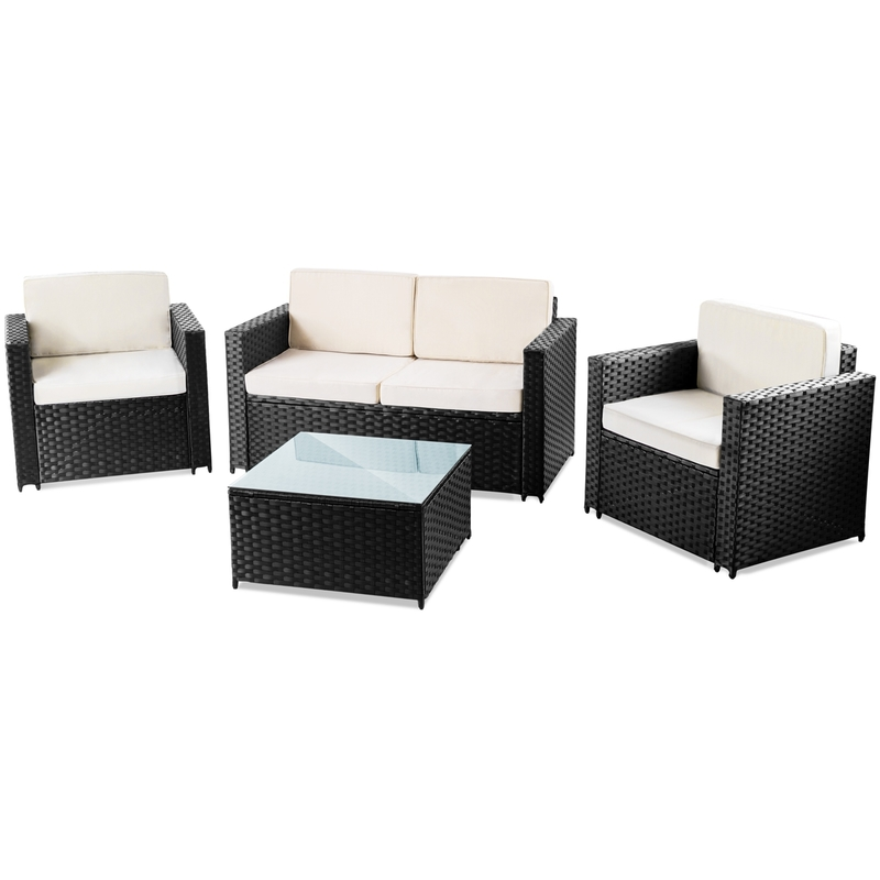 Set mobilier jardin terrasse MESSINA 4pc canapé ratan synthetique ...