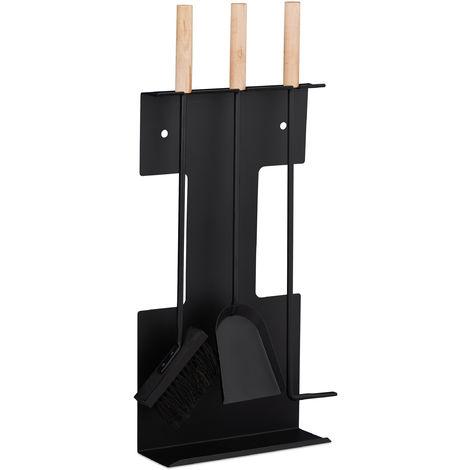 Set moderno de accesorios para chimenea, Pala, Cepillo, Atizador & Soporte, Negro