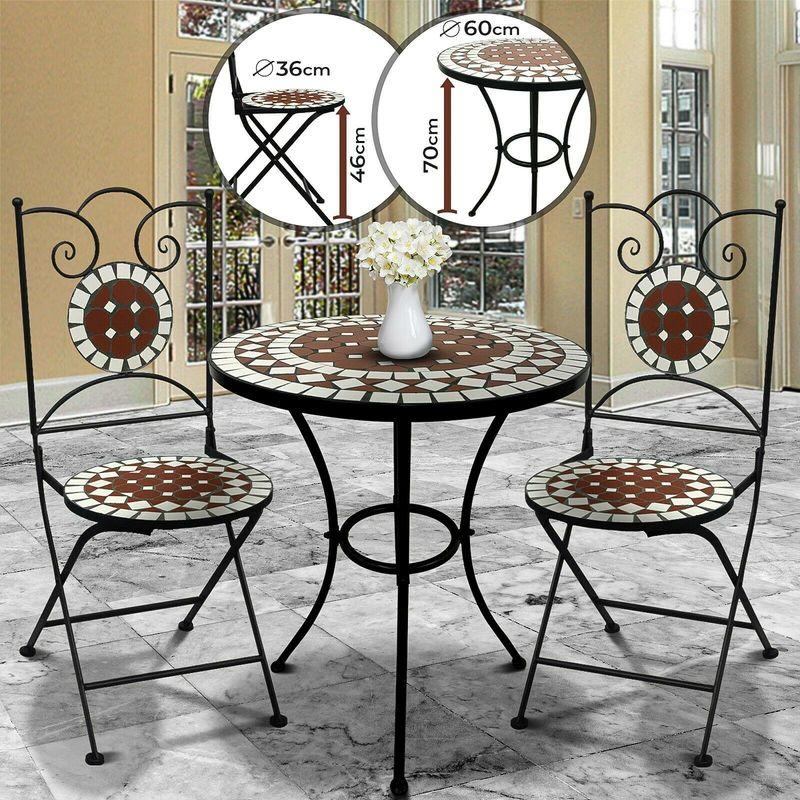 Tavolo Sedie Giardino Cemento.Set Mosaico Per Esterni Tavolo E 2 Sedie Mobili Da Balcone