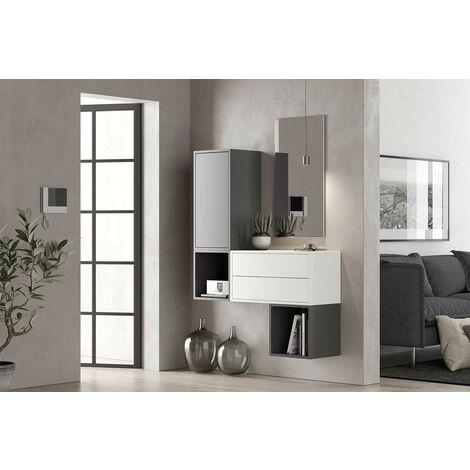 Set Mueble de recibidor 112xH150 cm Blanco mate y gris oscuro serie Lisbona | Blanco