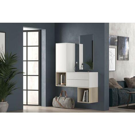 Set Mueble de recibidor 112xH150 cm Blanco mate y Roble serie Lisbona | roble y blanco
