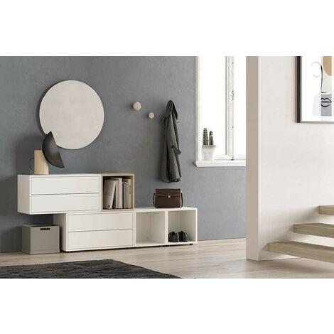 Set Mueble de recibidor 187xH75 cm Blanco mate y Roble serie Lisbona | roble y blanco