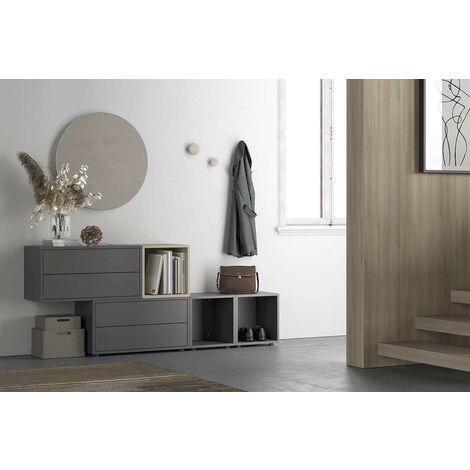 Set Mueble de recibidor 187xH75 cm Gris oscuro y roble serie Lisbona | Gris oscuro
