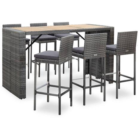Set muebles bar jardin 7 piezas y cojines ratan sintetico gris