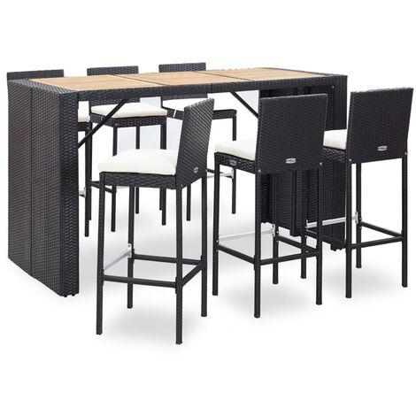 Set muebles bar jardin 7 piezas y cojines ratan sintetico negro