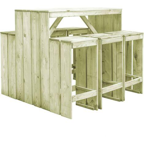 Set muebles de bar de jardín 7 pzas madera pino impregnada