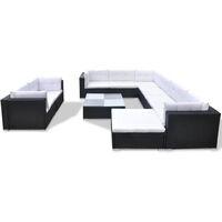 Set muebles de jardín 10 piezas y cojines ratán sintético negro