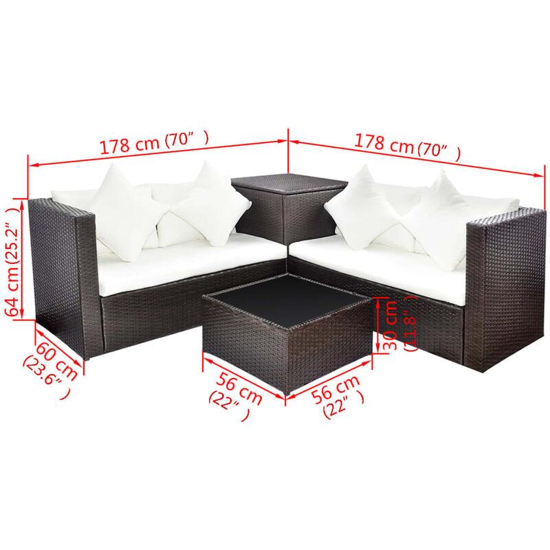 Muebles De Jardin En.Set Muebles De Jardin 4 Piezas Y Cojines Ratan Sintetico Marron
