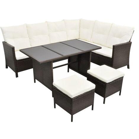 Set muebles de jardín 4 piezas y cojines ratán sintético marrón
