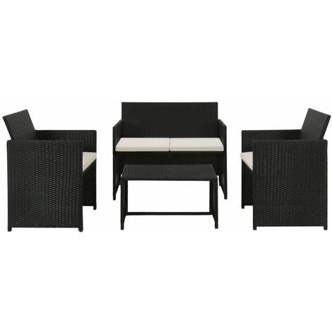 Set muebles de jardín 4 piezas y cojines ratán sintético negro