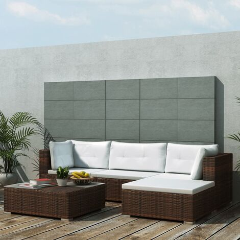 Set muebles de jardín 5 piezas y cojines ratán sintético marrón